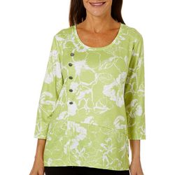 Onque Casual Womens Floral Print Button Embellished Top