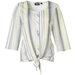 Onque Casual Womens Striped Button Down Tie Front Top