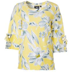 Onque Casual Womens Floral Print Grommet Detail Top