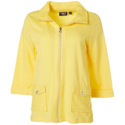 Onque Casual Womens Solid Zippered Jacket