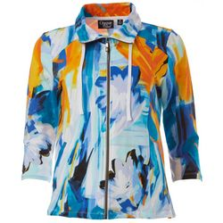Onque Casual Womens Graphic Floral 3/4 Sleeve Jacket