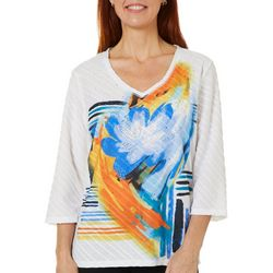 Onque Womens Floral Textured Detail V-Neck Top