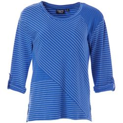 Onque Womens Textured Stripe Round Neckline Top