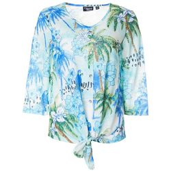 Onque Casual Womens Tropical Palm Button Down Tie Front Top