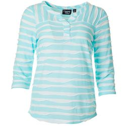 Onque Womens Textured Stripe Split Neckline Top