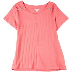 Coral Bay Womens Button Details Ribbed Top