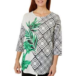 Onque Womens Geo Palm Print Top