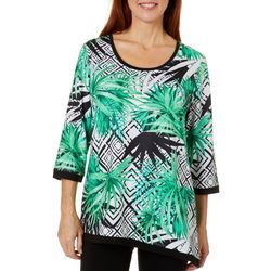Onque Casual Womens Geo Palm Print Top