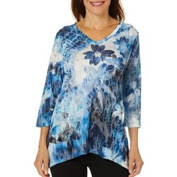 Onque Womens Mixed Floral Sharkbite Top