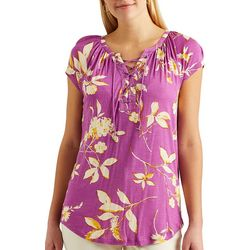 Chaps Womens Lace-Up Neck Floral Top