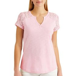 Chaps Womens Lace Sleeves Split Neck Top