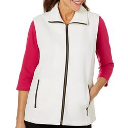 Cathy Daniels Womens Solid Zip Front Sleeveless Vest