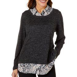 Cathy Daniels Womens Faux Layer Long Sleeve Top