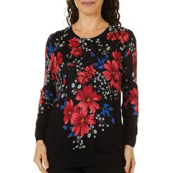 Cathy Daniels Womens Floral Embellished Sweater