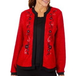 Cathy Daniels Womens Floral Embellished Long Sleeve Duet Top