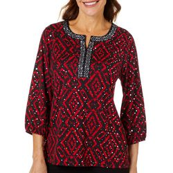Cathy Daniels Womens Geo Print Jewel Embellished Top