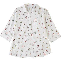 Coral Bay Womens Printed Button Down Shirt
