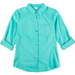 Coral Bay Womens Solid Button Down Shirt