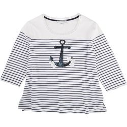 Emily Daniels Womens Striped 3/4 Sleeve Top