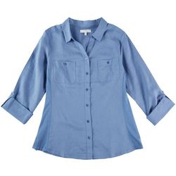 Coral Bay Womens Knit To Fit Solid Collared Button Down Top