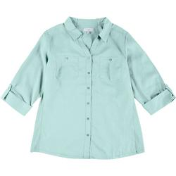 Womens Knit To Fit Solid Collared Button Down Top