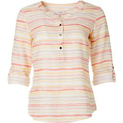 Coral Bay Womens Striped Linen Henley Top