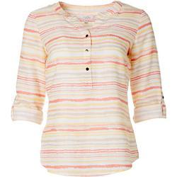 Womens Striped Linen Henley Top