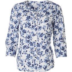 Womens Floral Pocket Linen Henley Top