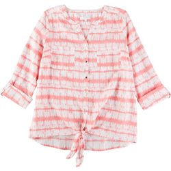 Coral Bay Womens Tie Dye Stripe Pocket Tie Front Linen Top