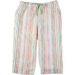 Coral Bay Womens Striped Print Linen Capris