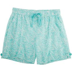 Coral Bay Womens Palm Tree Print Linen Shorts