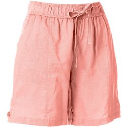 Coral Bay Womens Solid Linen Shorts