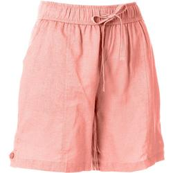 Womens Solid Linen Shorts