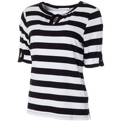 Cathy Daniels Womens Striped Keyhole Neckline Top