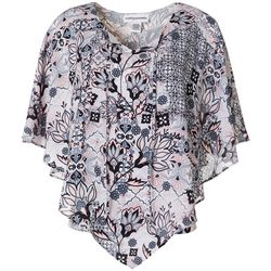 Cathy Daniels Womens Patchwork Print Poncho Top