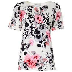 Cathy Daniels Womens Jeweled Floral Print Short Sleeve Top