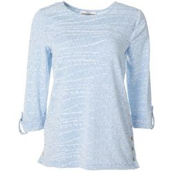 Womens Solid Textured Roll Tab Top