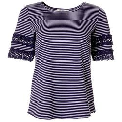 Cathy Daniels Womens Stripes Crochet Trim Top