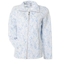 Womens Lace Zippered Long Sleeve Jacket