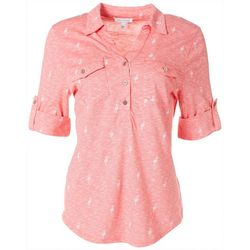 Emily Daniels Womens Flamingo Collared Button Down Top