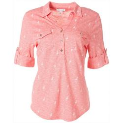 Womens Flamingo Collared Button Down Top