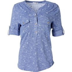 Emily Daniels Womens Sailboat Collared Button Down Top