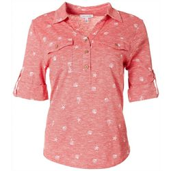 Emily Daniels Womens Seashell Collared Button Down Top