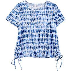 Emily Daniels Womens Tie Dye Burnout Tie Hem Top