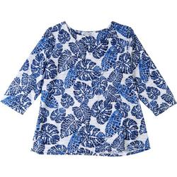 Womens Abstract Palm Tree V-Neckline Top