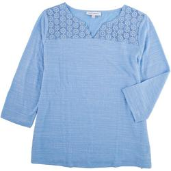 Womens Scoop Neck Top With Lace Top Detail