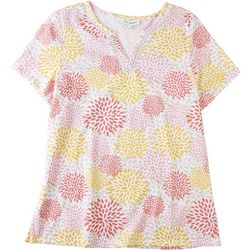 Emily Daniels Womens Floral Split Neck Top