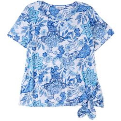 Emily Daniels Womens Paisley Flowers Round Neck Top