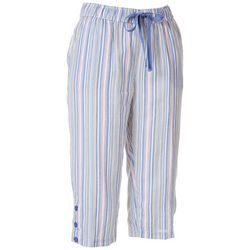 Coral Bay Womens Striped Button Hem Linen Capris