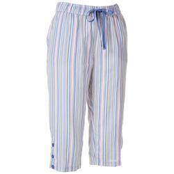 Womens Striped Button Hem Linen Capris
